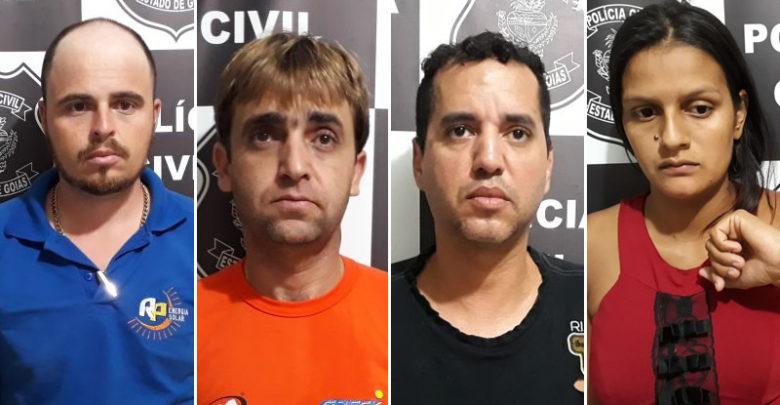 Ricardo, Rafael, Rogimar e Andréia foram presos por receptação (Foto/Montagem: Polícia Civil - Uruaçu/Redação Excelência Notícias)